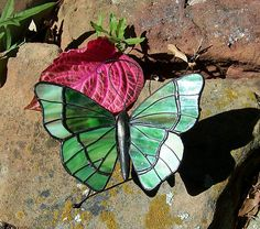 Stained Glass Butterfly Figurine Collectiable House Patio Green REDAPPLESALES | eBay