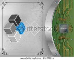 Tree dimensions cubes on scratched metallic background and processor chip connected to circuit board. Technology Background, Circuit Board, Cubes, Royalty Free Images, Vectors, Metallic, Illustrations, Stock Photos, Abstract