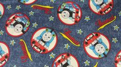 """The 45"""" Inch Thomas The Train 100% Cotton Fabric by the yard Create pillowcases, shirts, bandanas, pj's for teens and adults, covers,quilting, arts and crafts, costuming, tablecloths, etc, and the pos"""