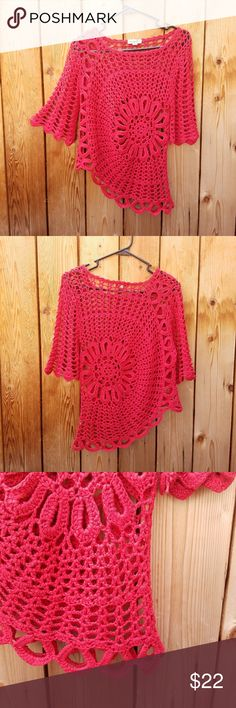 One World Crochet Red Asymmetric Top Somewhat of a bell sleeve. So cute! Sized petite Excellent condition  Feel free to ask me any additional questions! No trades, or modeling. Happy Poshing! ONE WORLD Tops