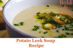 A recipe for creamy Potato Leek Soup Recipe. #potatoleeksoup #creamofpotatoleeksoup #leeks #potatoes #soup #recipe #food #foodblog #boldandtasty Soup Starter, Potato Leek Soup, Cream Soup, Vegetable Stock, Starters, Soup Recipes, Food And Drink, Potatoes