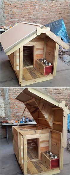 In order to make your house as best and impressive looking for others in the pet care, here we have the outstanding pet house for you that is finished with the wood pallet use all over it. It is rather simple looking in appearance and is quite innovative Pallet Dog House, Pallet Dog Beds, Dog House Plans, Pallet Projects, Woodworking Projects, Diy Projects, Diy Pallet Furniture, Outdoor Furniture, Furniture Ideas