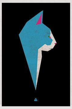 Cats in Art and Illustration: Origami blue cat Art And Illustration, Illustrations Posters, Baby Cats, Cats And Kittens, I Love Cats, Cute Cats, Tattoo Gato, Karten Diy, Photo Chat