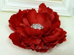 Red Flower Hair Clip for Women Girls Baby  by BooBoosBowtique, $10.00