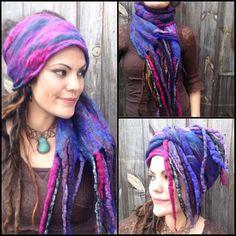 The 'Lobelia' Felted Dread Wrap, Gypsy Headscarf, Hippy Turban with Felt Dreads, Witch, Pagan, Boho, Nomad Festival Clothing