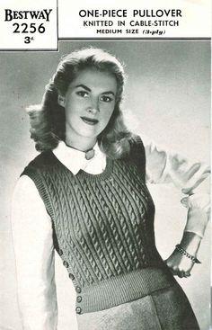 Vintage Ladies One-Piece Pullover, Knitting Pattern, 1950 (PDF) Pattern, Bestway 2256 by LittleJohn2003 on Etsy
