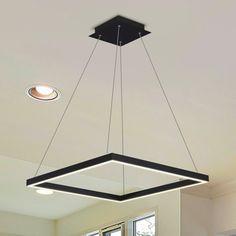VONN Lighting VMC31620BL Atria 20-inch LED Modern Square Chandelier in Black