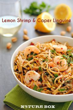Lemon Shrimp & Caper Linguine - A fresh summer pasta with whole wheat linguine with sauteed shrimp, capers, garlic, olive oil, lemon juice, parsley, red pepper flakes...