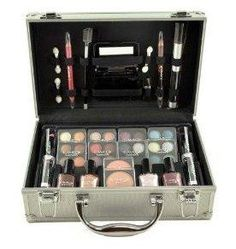 Shany Cosmetics Carry All Train Case with Makeup and Reusable Aluminium Case***Complete eye shadow make-up beauty case,Small and convenient to carry on,Applicators and mirror included,Carry on aluminium case comes in silver colors,.