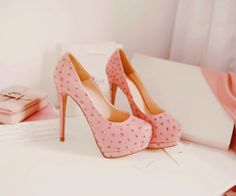 pink with dots heels