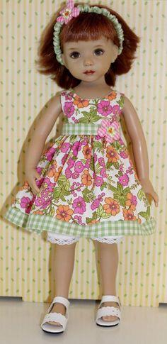 "~*~Gingham Garden Girl~fits 13"" Effner Little Darling~GREEN DRESS SET"