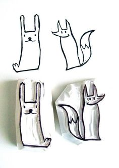 ANIMAL HAND CARVED STAMPS - DIY : DES TAMPONS FAIT MAISON |