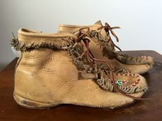 70s Vintage Leather Moccasins by COSTUME204 on Etsy