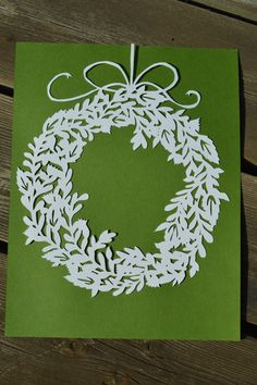 Holiday Floral Wreath Original Paper Cut by ScissorSnip on Etsy