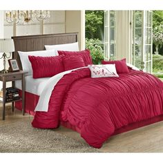Shop for Chic Home Frances 11-piece Pink Pleated and Ruffled Comforter Bed in a…