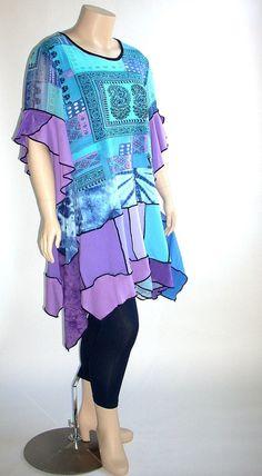Plus -Size-Tunika in violett und Türkis, Größe XL 16 bis 18