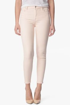 7 For All Mankind, The Slim Illusion High Waist Ankle Skinny in Crystal Pink (28' Inseam), crystal pink, Womens : Denim : Cropped & Ankle, AU8113367A