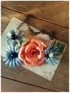 the way to blue necklace. upcycled vintage jewelry by bee vintage redux.