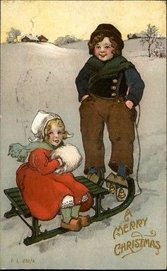 Christmas Dutch Children Sledding Gilt Embossed Greeting c1910 Postcard | eBay
