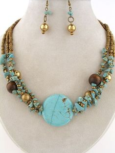 TURQUOISE Semi Precious Stone Wood Layered NECKLACE Elegant Chunky Jewelry Set