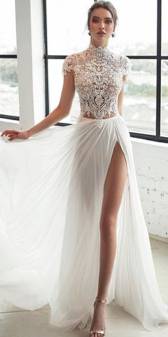 lace bodice high neckline with short sleeves high slit sexy wedding dresses ideas julie vino bridal