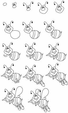 how to draw a bee and beehive step by step