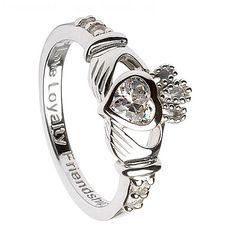 Silver Claddagh Ring with Diamond CZ - April Birthstone
