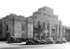 I'm not sure why U.S. Tires decided to build their headquarters fashioned after the palace of Babylonian King Sargon II in 1929, but they sure were committed. They engaged architects Morgan, Walls and Clements who had done the Richfield Tower, the El Capitan Theatre, and the Mayan Theatre. I'd imagine that in the early 1930s, Commerce would have largely been undeveloped land so this building really must have stood out. It's still around and got a second life as the Citadel Outlet Mall.