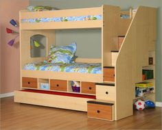 Bunk Beds with Stairs and Storage - For more Awesome Bunk Bed Ideas take a look at HomeIZY.com!