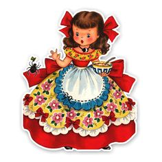 this Little Miss Muffet card was created into a diecut from a very rare Fairfield vintage card. $1.99