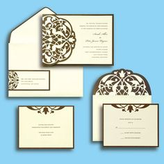 BRIDES® Brown Ivory Flourish Invite *****Available at Ollie's for $4.99 each***********