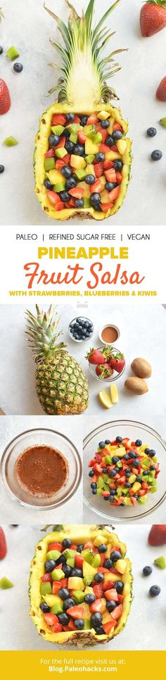 Serve this fresh and easy fruit salsa in a pineapple bowl for a warm weather cookout dazzler! Get the recipe here: http://paleo.co/pinefruitsalsa
