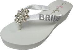 dec1085f2e0329 Bridal Jewel Flip Flops with Bride Glitter Bling - Wedding Wedge Flip Flops-white   ivory