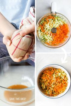 Boy squeezing juice out of grated carrot and zucchini