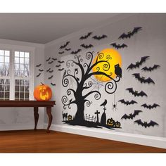 """Halloween Trick Or Treat Mega Value Party Scene Setters Wall Decorating Kit (32 Piece), 65"""" X 32 1/2"""", Black. Two-piece scene setter features a cemetery, complete with creepy tree and a full moonIncludes black bat cutouts in assorted sizesContains 2 Vinyl Sheets measuring 65"""" x 32 1/2"""" and 30 Printed Paper Cutouts measuring 7"""", 12"""" and 17""""Package includes 32 pieces in total. #ad #wallstickers #halloween #decor"""