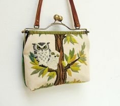 Woodland Owl Bag  Vintage Embroidery Linen Kisslock by StarBags #owl #bag #embroidery #tree