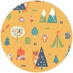 Camelot Happy Camper Orange Camping Trip by CedarandNeedleFabric