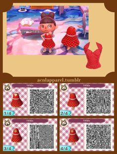 """acnlapparel: """" Request 1950s style dress I loved the red polkadot 1950s dress so much I made one of my own based off another dress. I really love the low necklines. Vintage- even in Animal Crossing. """""""