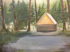 Work in Progress by Charis Raine, 2016. Cabin. Oil on board.