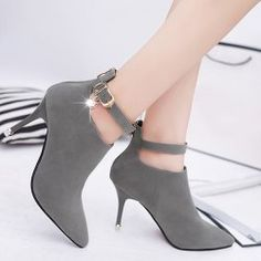 Buckle Strap PU Leather Rhinestones Ankle Boots - DEEP GRAY 38