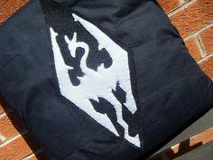 skyrim dragon grey logo dragonborn elder scrolls video game pillow cushion gift