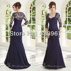 Floor Length Evening Gowns Pleated Bodice Long Lace Appliques 3/4 Sleeve Mother Of The Bride Dresses US $126.00