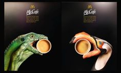 Detail of two of the print/poster pieces of the series called Hands, by Leo Burnett Londdon for McDonald's McCafe. © Leo Burnett/McDonad's