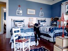 Bedroom, Patriotic Boys Bedroom For Two 33 Wonderful Shared Kids Room Ideas