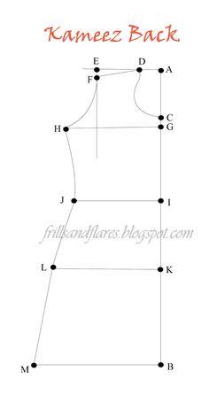 Frills and Flares: Kameez Pattern Draft