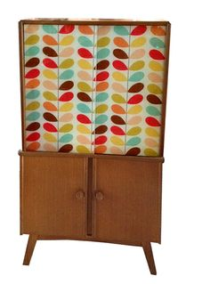 1950s Oak Tallboy with Stem Print Glazed Doors