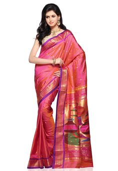 New design of paithani sarees, Paithani sarees online shopping, Paithani Silk Saree With Matching Blouse Piece for more info www.uppada.com