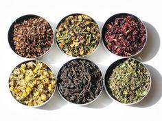 Organic Herbal Tea Sampler - 6 fragrant herbal certified organic loose teas / no caffeine - soothing and relaxing tea gift set. via Etsy.