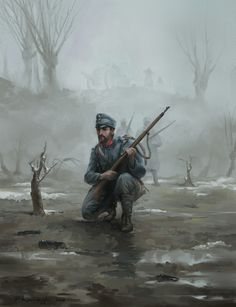 Fall 1915 - patrol on the Dniester, Pawel Kaczmarczyk on ArtStation at https://www.artstation.com/artwork/Akay5