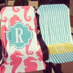 Personalized Beach Towel in Multi Ikat Chevron